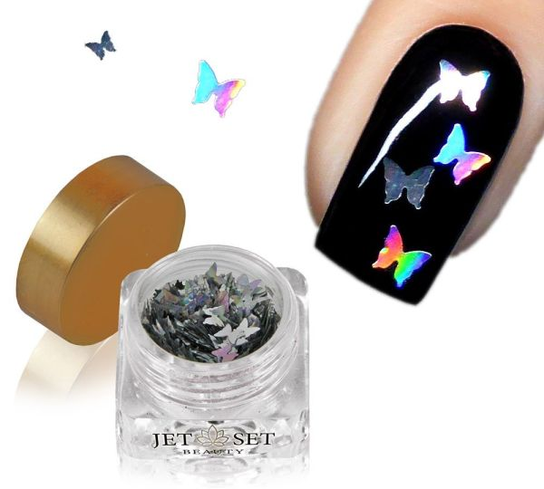 Butterfly Shapes Silber Hologramm